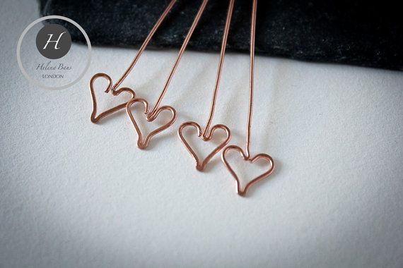 Heart Head Pinsset of 4 hand made copper by HelenaBausJewellery