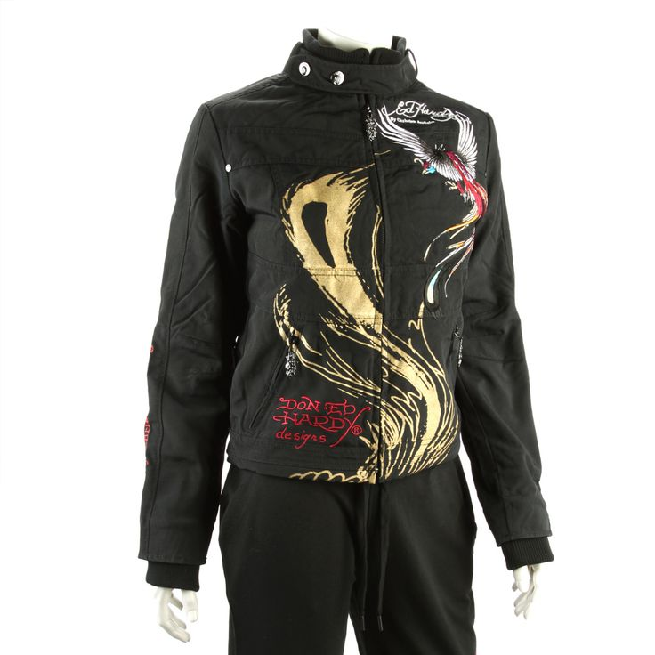 Ed Hardy Womens Eagle and Panther Jacket -Black