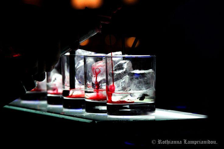 Cocktail night in Athens. Ice. Grenadine. Vodka. Love.