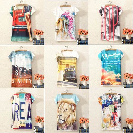 Cheap Envío Gratis 4014 nuevas mujeres ' s 3D T  shirt Cartas animales impresión de manga corta de verano las mujeres camiseta, Compro Calidad Camisetas directamente de los surtidores de China: Hot New 2014 Fashion Good Quality Cotton T Shirt Women Tops Round Neck Heart T-shirts Much moneyUS $ 4.39/piece2014 New