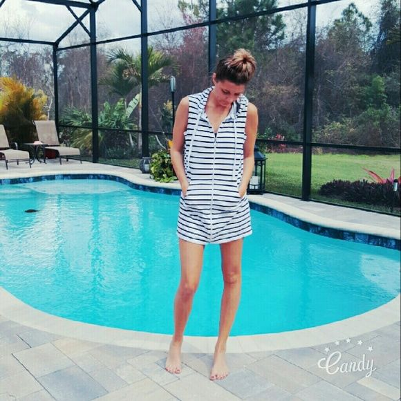 Nautical zip up This navy & white hooded cover up is the best for boating, beaching and bikini's. With its full zip up front you can adjust how much of that teeny bikini you show off. The added hood detail makes it sporty too. Croft & Barrow Swim Coverups