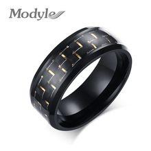 Modyle 2016 NEW karbonová vlákna Jednoduché Muži Ring 8 mm Stainless Steel 3 Colors módní šperky Prsteny (Čína (pevninská část))