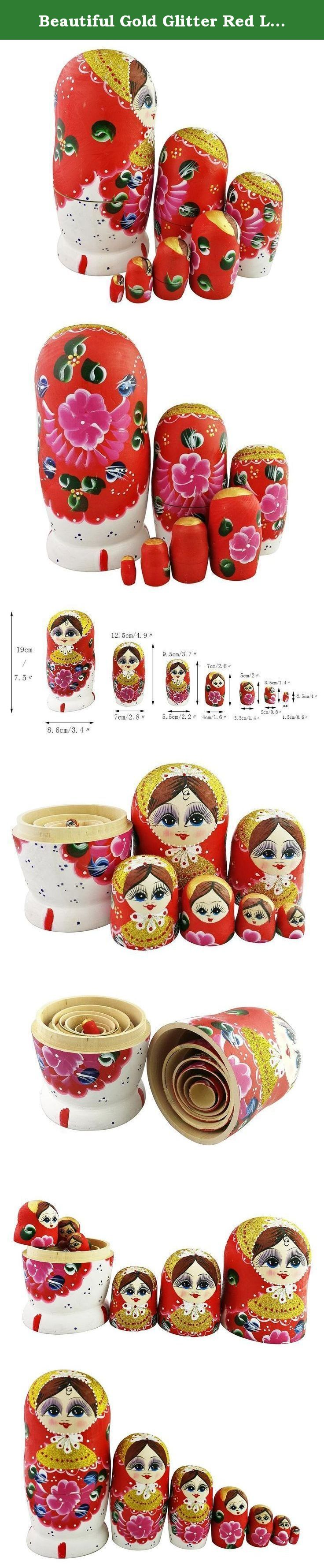 Beautiful Gold Glitter Red Little Girl Flower Pattern Handmade Wooden Russian Nesting Dolls Matryoshka Dolls Set 7 Pieces For Kids Toy Birthday Christmas Gift Home Decoration. Introduction: Have you been attracted by this surprise toy? It is a set of 7 wooden dolls of decreasing size placed one inside another to appear as one. It could be also called the first ever surprise toy, invented 123 years ago in Russia. In russian words, the nesting dolls you are viewing is Matryoshka. They are…