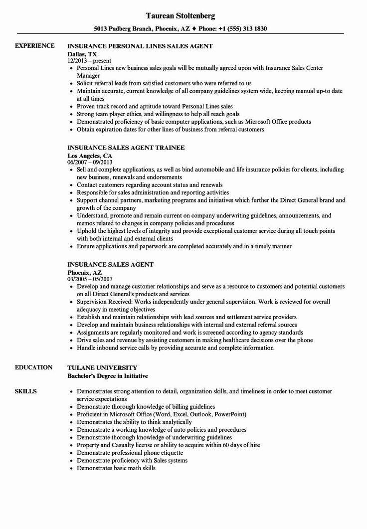 Insurance Agent Resume Examples Inspirational Insurance