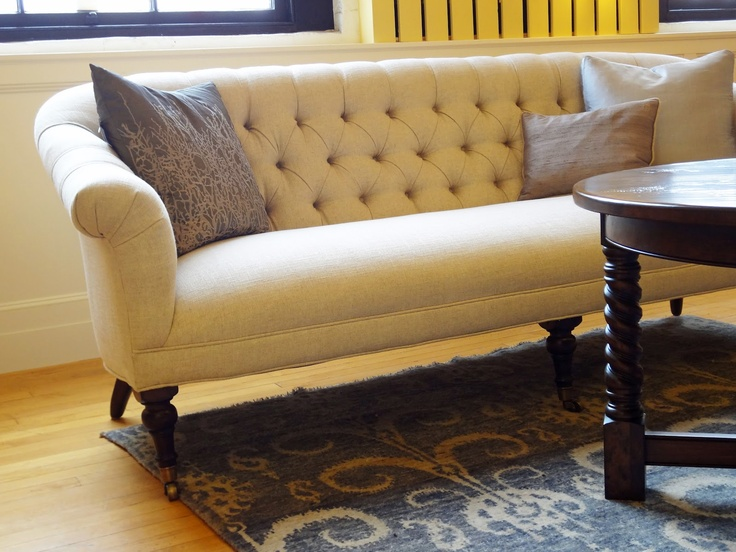sofa: Farmhouse Couch, Recycled Beautiful, Yellow Sofas, Tufted Couch, Perfect Sofas, Farmhouse Living Rooms Rugs, Country Farmhouse, Furniture, Studios Couch