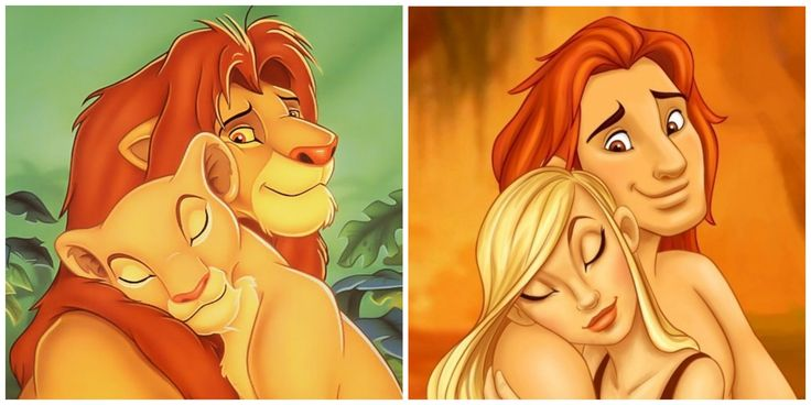 "Simba Holding Nala from ""Lion King"""
