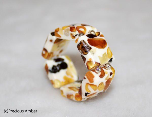 Mosaic amber elastic ring , amber rings , white resin and amber ring elastic amber ring by PreciousAmber on Etsy