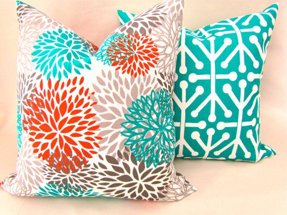 THROW PILLOWS Set Of 2   18x18 Orange Teal Throw Pillow Covers 18 X 18 Aqua