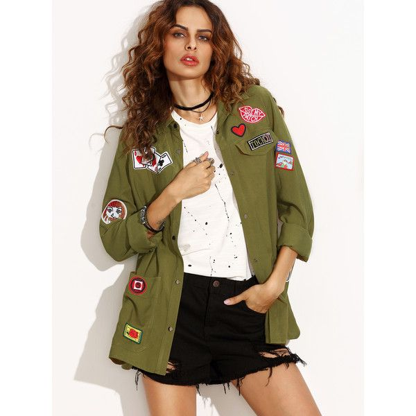 SheIn(sheinside) Olive Green Military Shirt Jacket With Embroidered Patch Detail featuring polyvore, women's fashion, clothing, outerwear, jackets, green, military shirt jacket, olive green military jacket, green camo jacket, army green military jacket and military jacket
