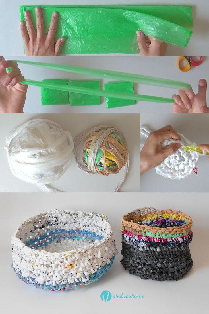 Plarn (plastic yarn) baskets, free pattern, video tutorial, written instructions/ Canastas de plarn (estambre de plástico), patrón gratis, video tutorial, instrucciones escritas