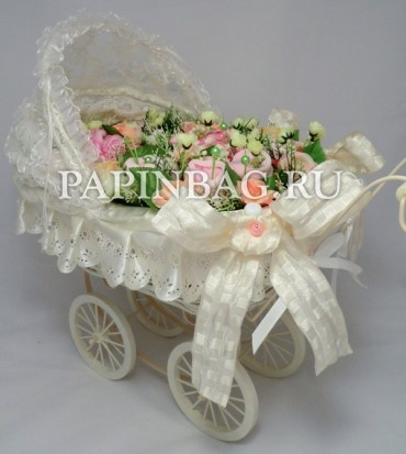 """BABY-Bouquet for newborn girl - """"Princess for a walk"""" (in the children's doll stroller retro)"""