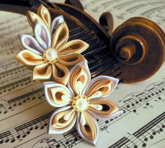 Silver And Gold Fabric Flower Hair Comb Made To By