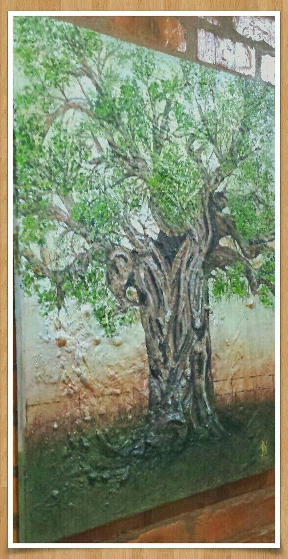 Abatract oil painting of baobab tree. Used texture as inspiration  for the tree trunk. Made a sunset to soften the solid lines.