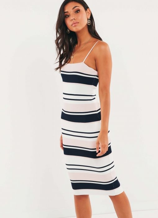 Purnia Dress - Navy Pink Stripe