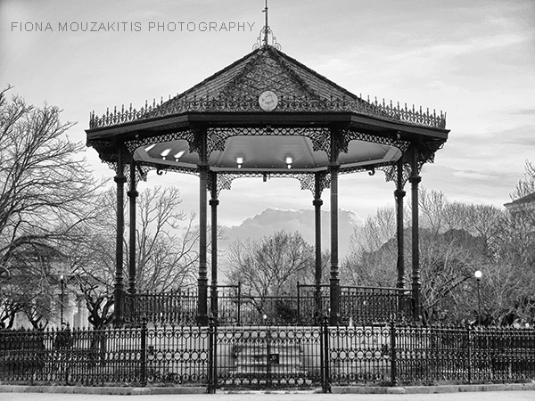 WAITING OF WINTER. The bandstand in winter. Corfu Greece.