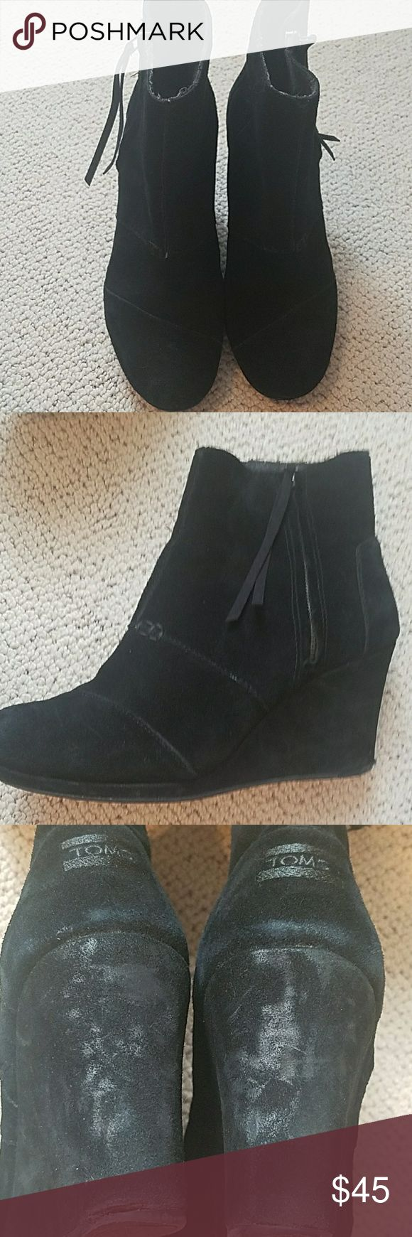TOMS Desert Wedge Boots TOMS High Desert Wedge Boots in black suede. TOMS Shoes Ankle Boots & Booties