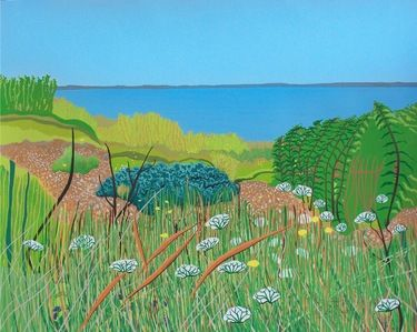 """Saatchi Art Artist janet darley; Painting, """"from seasalter towards sheppey"""" #art -- kind of a cartoon-ized version of reality."""