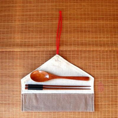 Nakali Chinese Portable Travel Wood Chopsticks Spoon Set w/ Cotton Gunny Cover