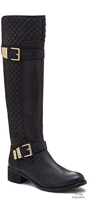 Black knee-high boots with gold buckle accents.  Design by Vince Camuto. | @gaby_cantoo