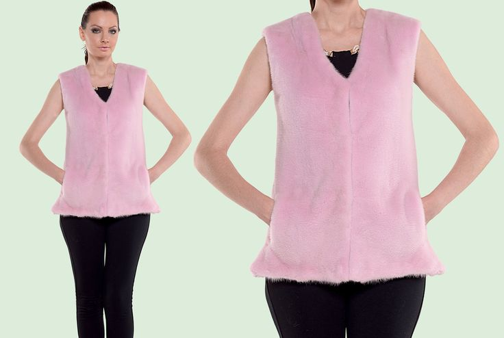Brighten up your day with a pink mink fur vest.