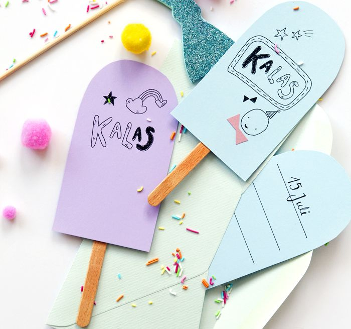 Make your own little DIY party invitations in the form of icecreams! Kalas.