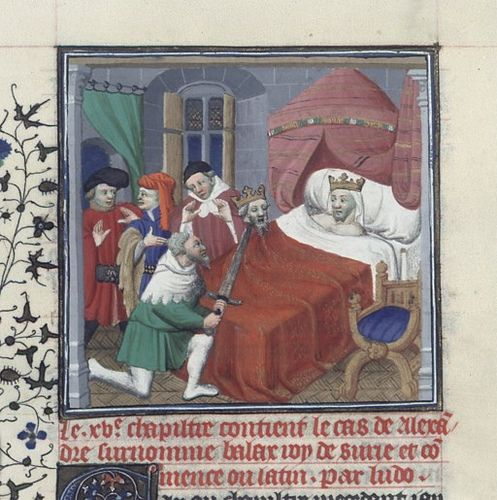 Ptolemy IV receives the head of Balas   by medievalarchive