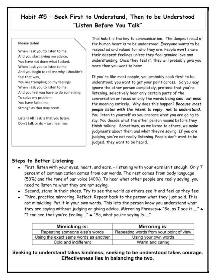 Habit 5 seek first to understand info sheet