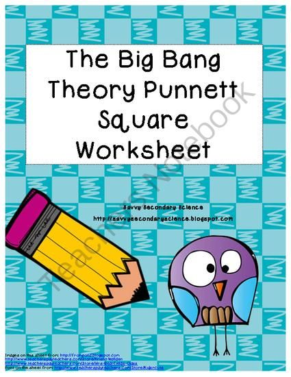 big bang theory punnett square worksheet from savvy secondary science on. Black Bedroom Furniture Sets. Home Design Ideas