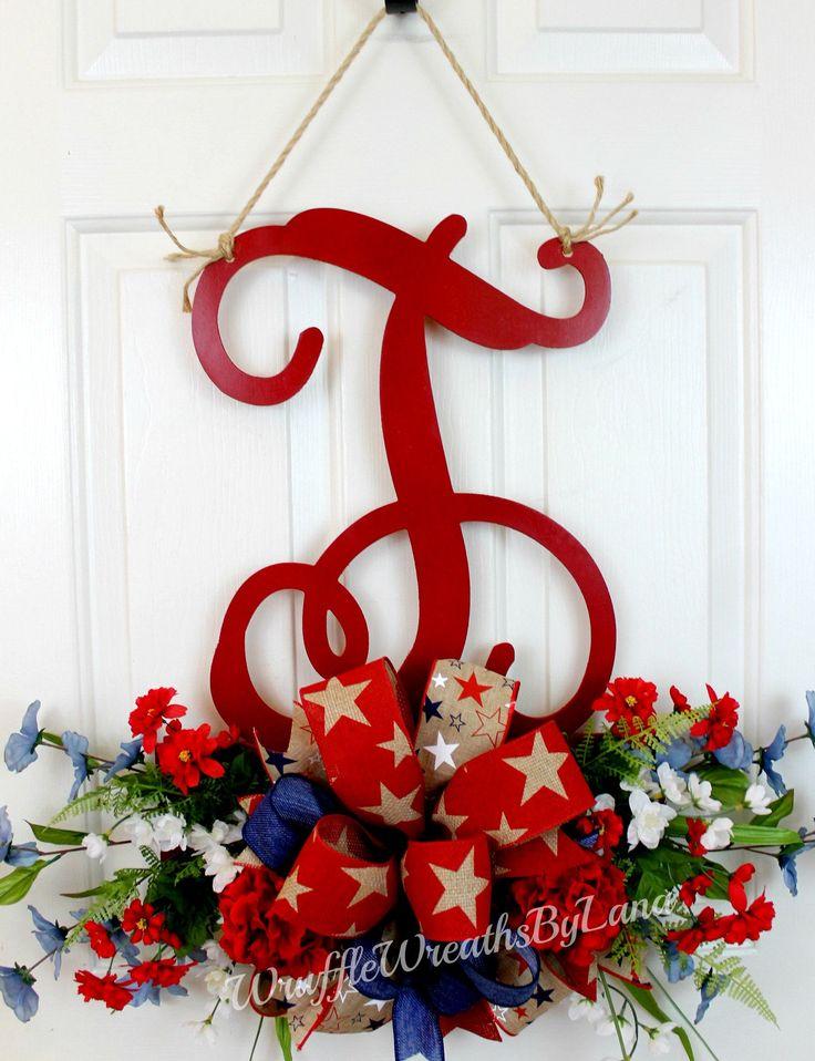 Monogram Patriotic Door Hanging, Monogram Patriotic Wreath, Monogram Front Door Hanging, Everyday Monogram Front Door Hanging by WruffleWreathsbyLana on Etsy