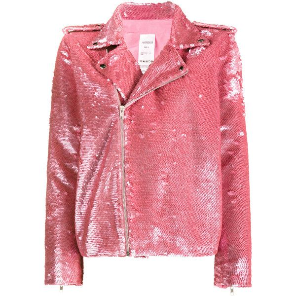 Ashish Nasty Woman Sequin Biker Jacket found on Polyvore featuring outerwear, jackets, pink, red jacket, red motorcycle jacket, faux biker jacket, faux-leather moto jackets and biker jackets