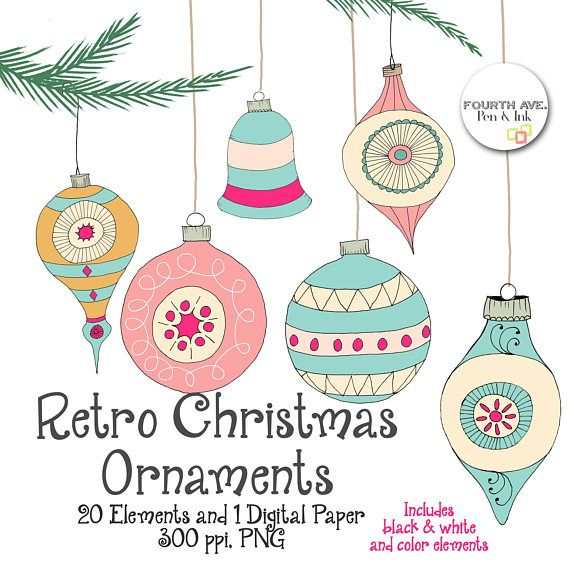 Retro Christmas Ornaments Clipart Quirky Christmas Clipart Retro Ornaments Retro Christmas Christmas Ornaments