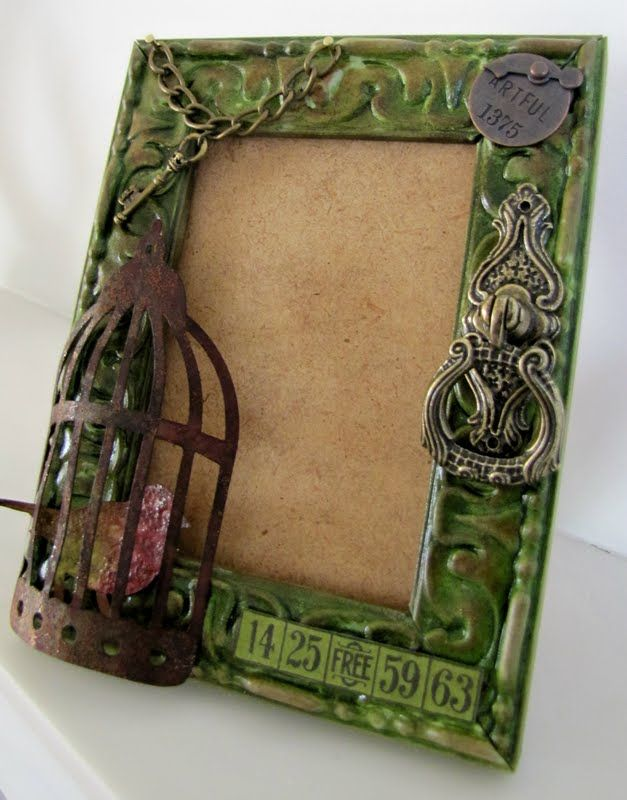 altered frame. Embellish a frame with a bad spot or just embellish because you can!