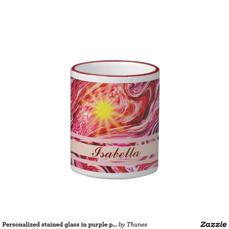 Personalized stained glass in purple pink swirls ringer coffee mug