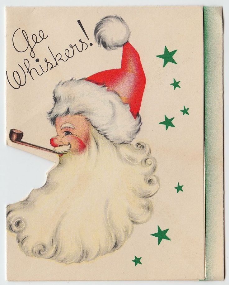 Vintage Greeting Card Christmas Santa Claus Whiskers Pipe Pop-Up 1940s