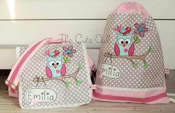 *Süße Eule* Kindergarten- Rucksack/Tasche in einem von The Cute Owl auf DaWanda.com