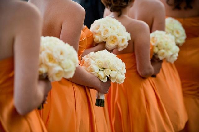 Orange bridesmaid dress - love that shade! Summery.