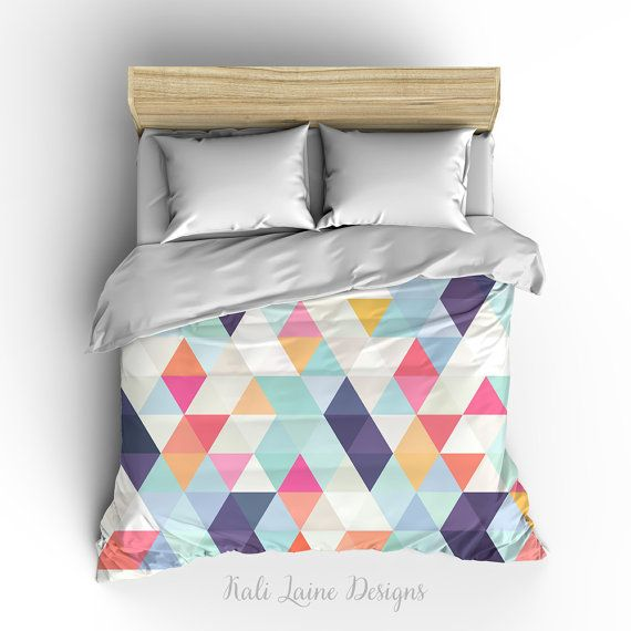 Colorful Triangle géométrique housse de couette / housse de couette / 3 tailles disponibles, roi, Reine, twin /bedding/ rose, blanc, bleu sarcelle, violet, Orange