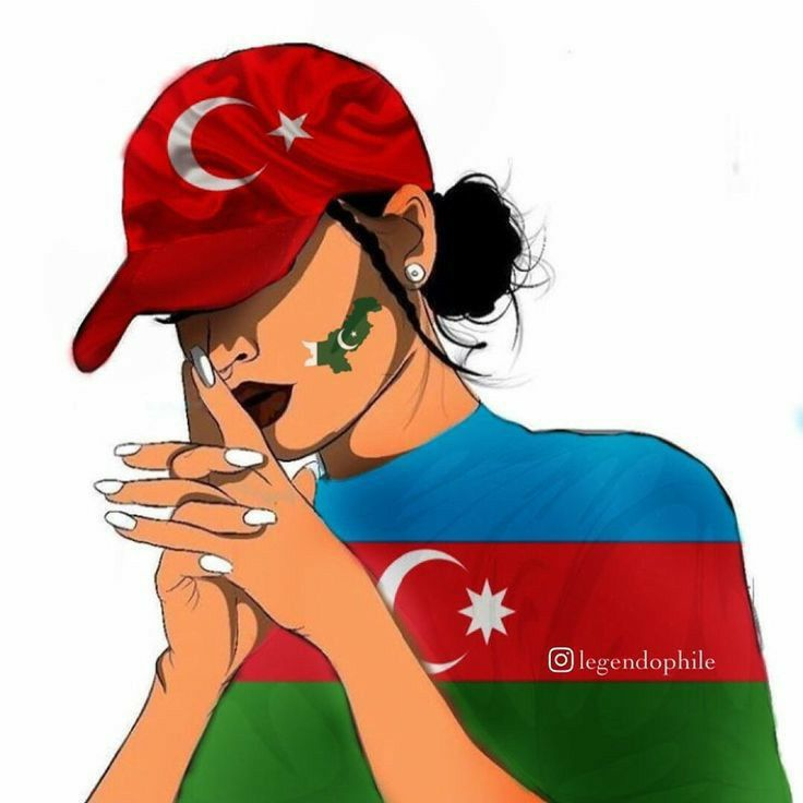 Azerbaijan Flag Digital Art Girl Turkish Flag
