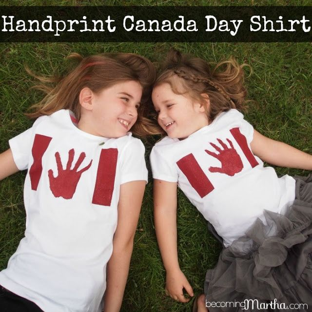 Handprint Canada Day Shirts - like this idea for the girls this year!