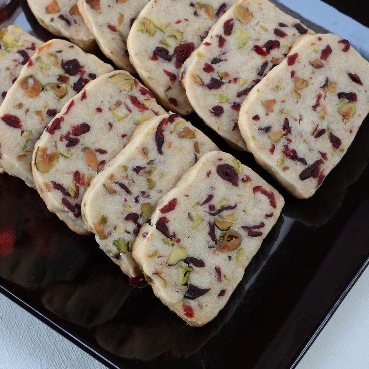 Cranberry Pistachio Shortbread on http://cooksjoy.com/blog