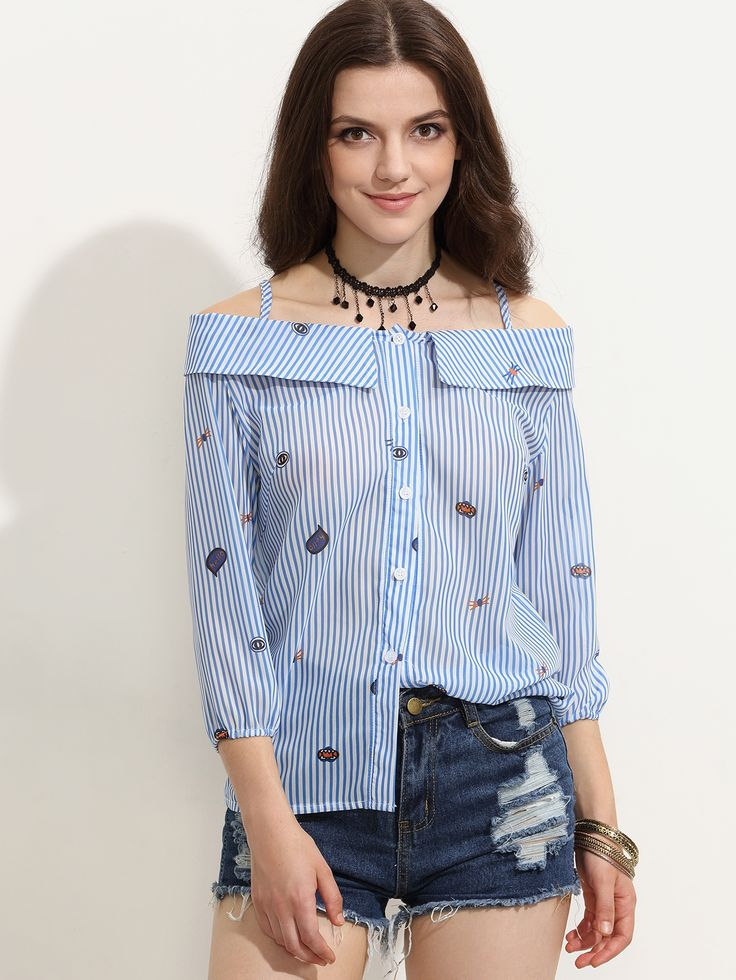 19$ Watch here - http://di7bk.justgood.pw/go.php?t=3956 - Blue Striped Cartoon Print Cold Shoulder Fold Over Blouse
