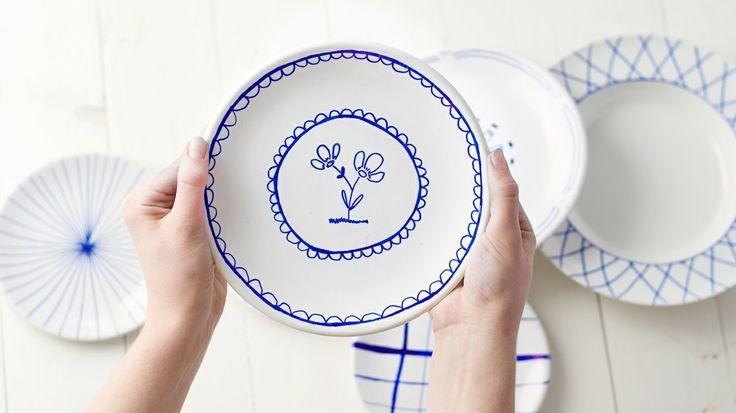 handgeverfde keramische borden