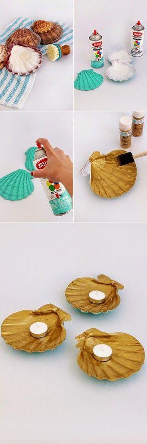 DIY: Portavelas con conchas paso a paso. Aprendemos cómo hacer unos preciosos portavelas pintando conchas.