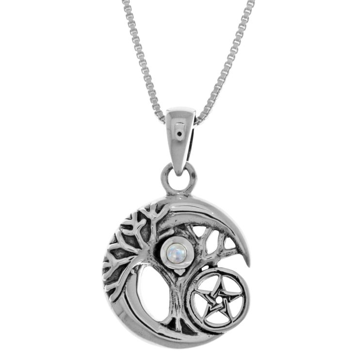 Carolina Glamour Collection Sterl Silver Celtic Tree of Life Moon Star Pendant (Rainbow Moonstone), Women's, Size: 18 Inch, White