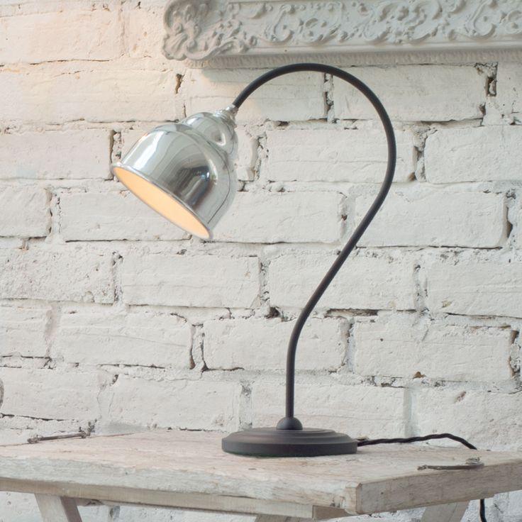 WHARTON TABLE LAMP IN MATT  BLACK WITH ALUMINIUM SHADE
