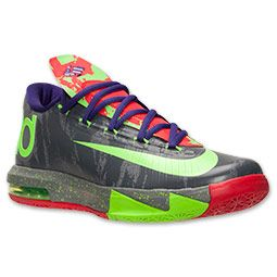 Men's Nike KD VI Basketball Shoes| FinishLine.com | Cool Grey/Electric Green
