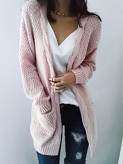 Fashion Open Collar Solid Color Cardigan 2