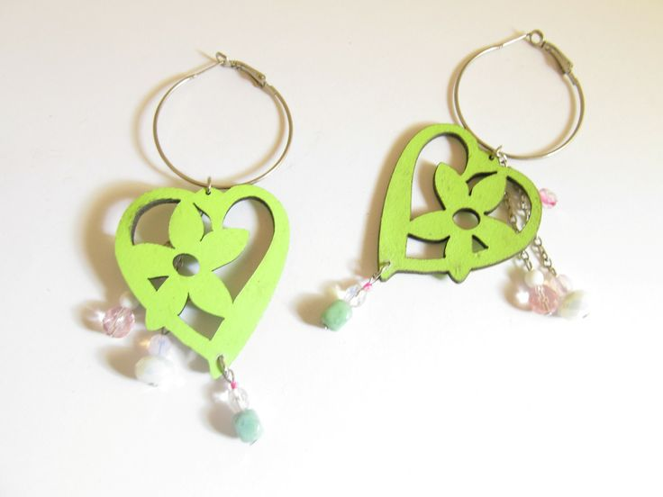 Handmade laser cut leather earrings (1 pair)  Made with light green leather hearts, silver tone antiallergic earring hoops and glass beads.