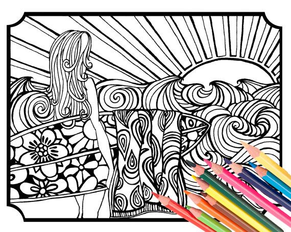 Surfer Girl Coloring Page Digital Download Beach By MellowMermaid