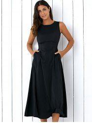 Casual Round Neck Sleeveless Loose Fitting Women's Midi Dress (BLACK,M)   Sammydress.com Mobile